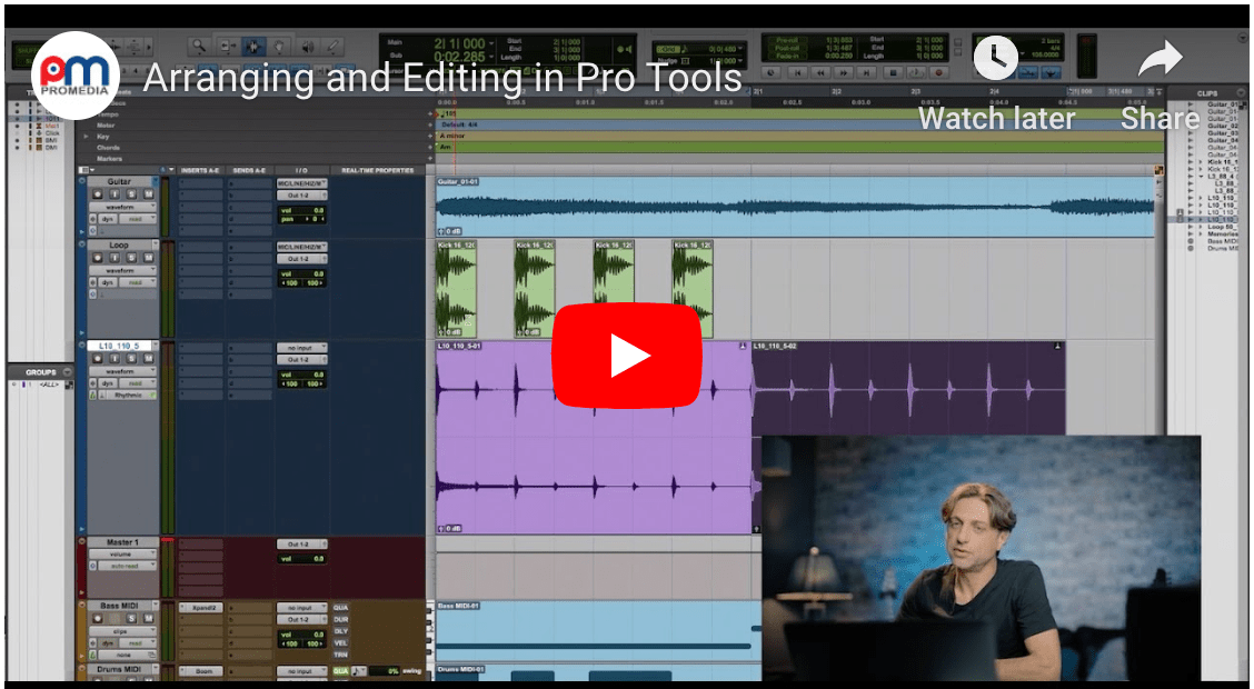 Editing and Arranging in Pro Tools - Video Tutorial