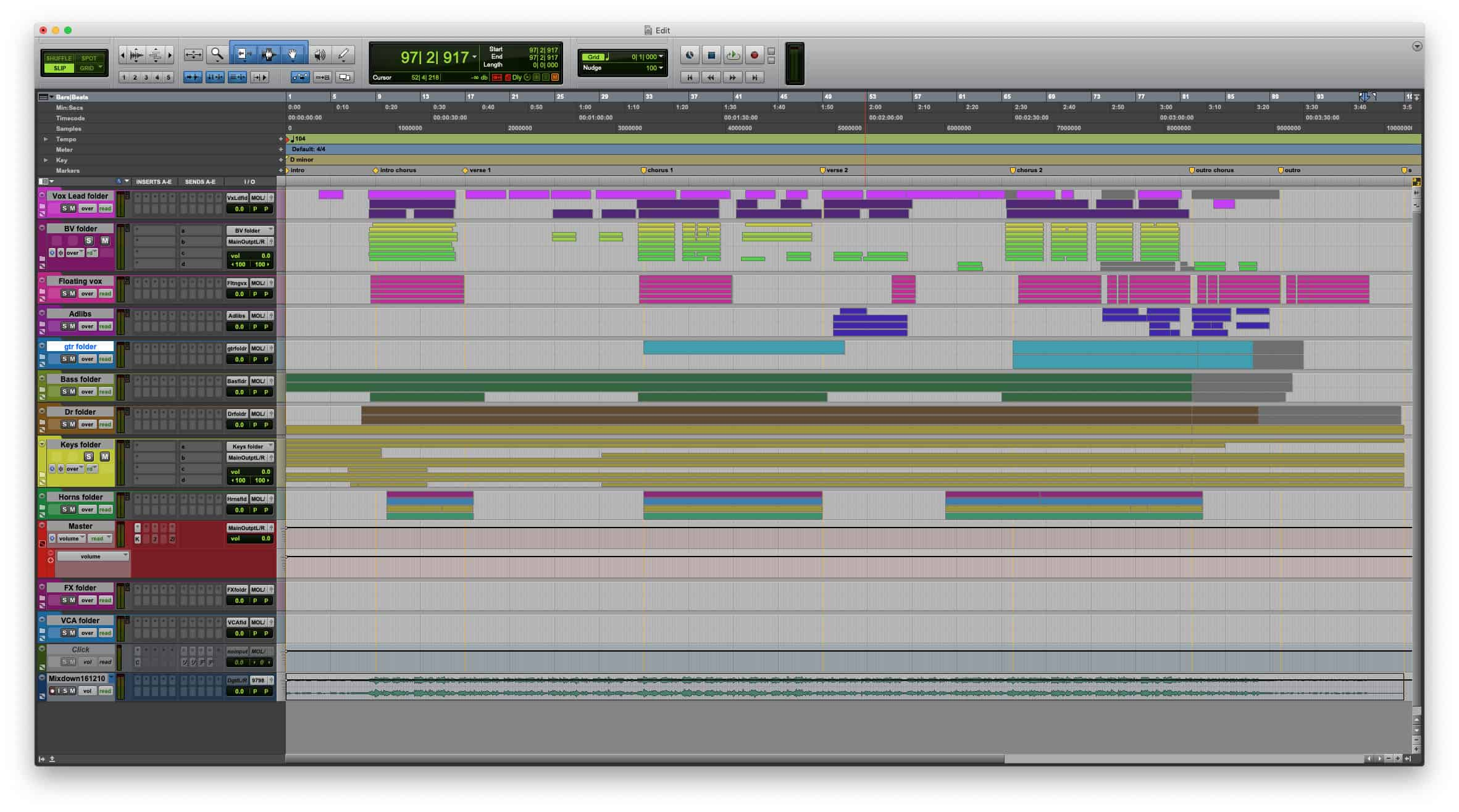 Pro Tools 2020 - Folder Tracks Feature