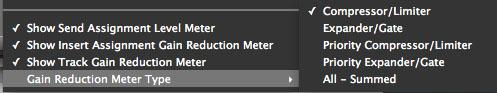 Gain reduction meter type